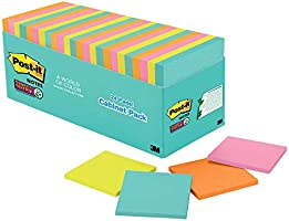 Post-it Super Sticky Notes, Bright Neon Colors, Standard Size, 3 in x 3 in, Multicolor