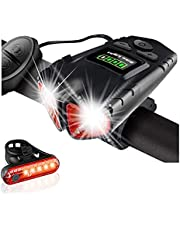 SUYAYA Ultra Bright Bike Light Set,USB Rechargeable Bicycle Headlight&Tail Light Set With Bike Bell,4 Light Modes, Fits All Bicycles,Hybrid, Road, MTB