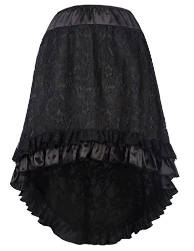 Women's Gothic Steampunk Costume Vintage Multi Layered Lace Skirt BP329-1 S/M (Steampunk Fashion Women)