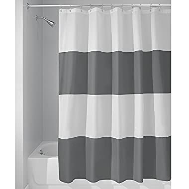 InterDesign Mildew-Free Water-Repellent Zeno Fabric Shower Curtain, 72-Inch by 72-Inch, Charcoal/White