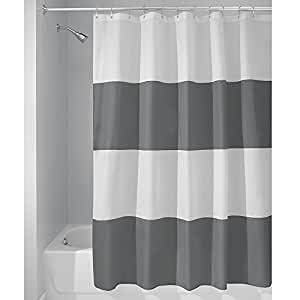 InterDesign Mildew-Free Water-Repellent Zeno Shower Curtain, 72-Inch by 72-Inch, Charcoal/White