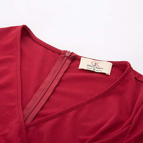 Office 2 to Business Women Dress KARIN Wear Work Ruffle Red Midi GRACE Bodycon Pencil OU0wxT