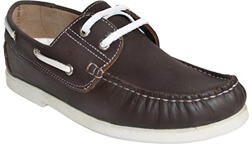 Sailing Boots Made of Real Cowhide Leather Boat Shoes BROGUE SHOES BROWN/WHITE p1541Tyy7t