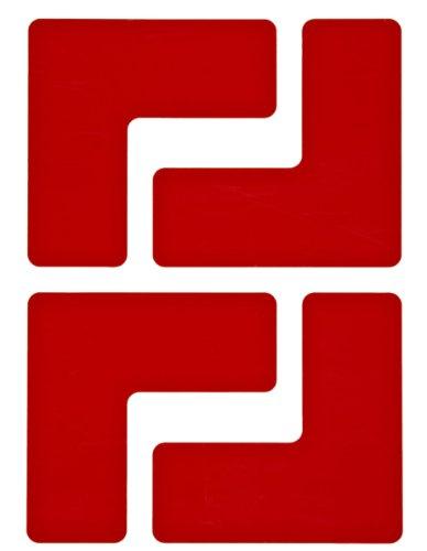 Brady ToughStripe Nonabrasive  L Shape Floor Marking Tape, 5 Length, 2 Width, Red (Pack of 20 per Roll)