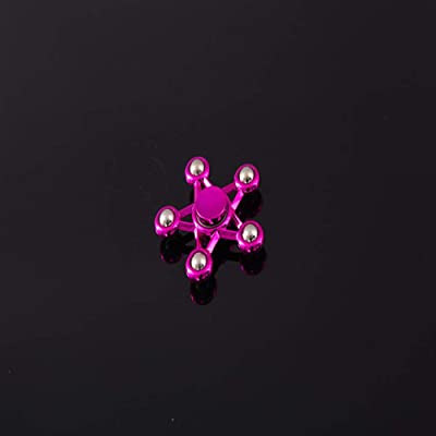 HBBOOI Pentagram Rolling Steel Balls Hand Spinner Kill Time Relieve Anxiety Stress Reliever Fidget Spinner Extra Long Spin Times Stress Reliever Toys for Kids Adults (Color : Pink): Home & Kitchen