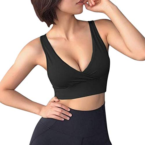 NRUTUP Summer Sport Vest Women Fashion Solid Color Workout Tank Bras Casual Crop Top(Black,XXL)
