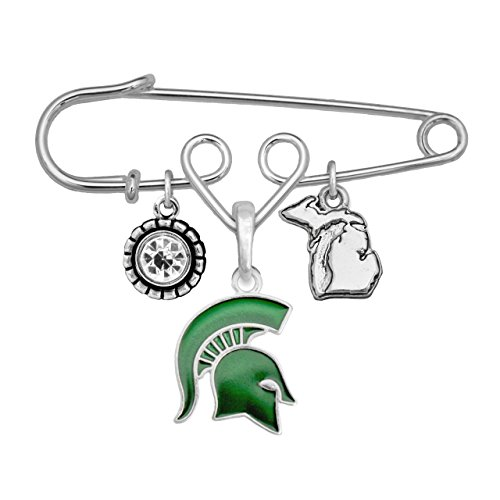 Michigan State Spartans Home Sweet Home Silver Crystal State Pin Brooch Jewelry MSU -