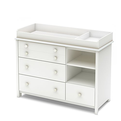 South Shore Convertible Changing Table with Storage Drawers and Removable Changing Station, Pure White from South Shore