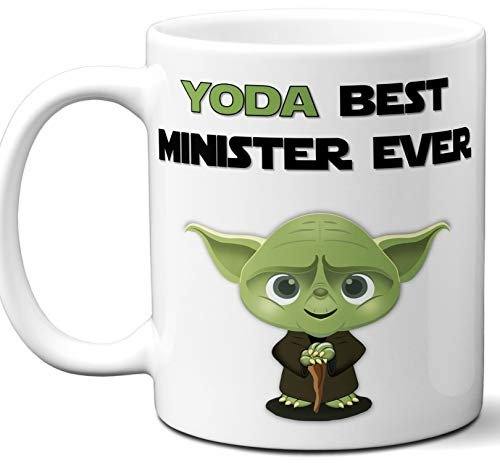 Funny Gift For Minister. Yoda Best Employee Ever. Cute, Star Wars Themed Unique Coffee Mug, Tea Cup Idea for Men, Women, Birthday, Christmas, Coworker.