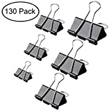 Binder Clips Paper Clamp for Paper -130 Pcs Binder Slips Assorted Sizes(Black)