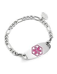 BAIYI Women Stainless Steel Medical Alert ID Bracelet Classic Figaro Chain 6-8 inch (Free Engraving)