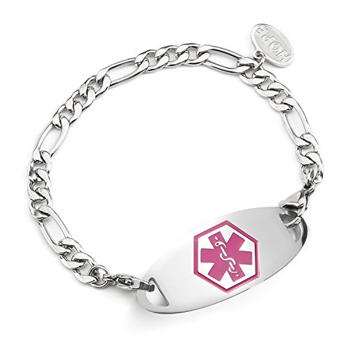 BAIYI Stainless Steel Figaro Chain Medical Alert ID Bracelet 7.5 inch Free Engraving ()