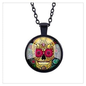 Skyboby Sugar Skull Necklace Glass Tile Necklace Day of the Dead Necklace Glass Tile Jewelry Sugar Skull Jewelry