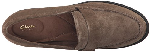 CLARKS Women's Bellevue Hazen Penny Loafer Olive Suede cheap sale Cheapest vkeiSrizN