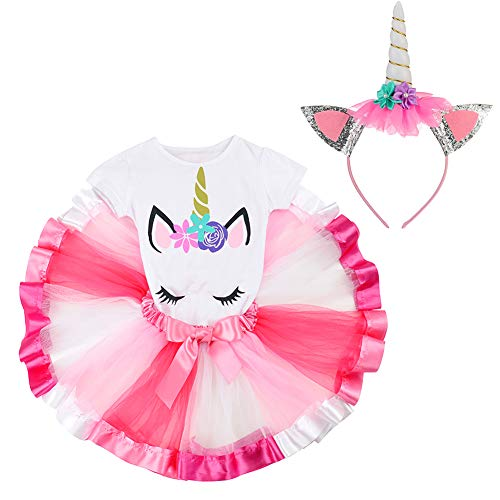 LYLKD Little Girls Unicorn Outfit Dress,Layered Rainbow Tutu Skirt,Unicorn T-Shirt and Unicorn Horn Headband. (Rose, S,2-3 Years) ()