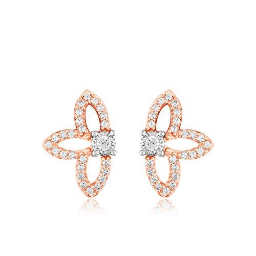 1/4 Ct Round Cut Natural Diamond 14k Rose Gold Half Flower Stud Earrings Womens