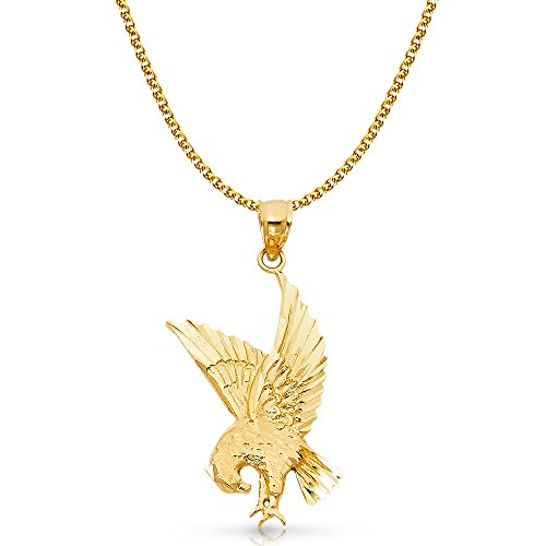 14K Yellow Gold Eagle Charm Pendant with 1.7mm Flat Open Wheat Chain Necklace - 18