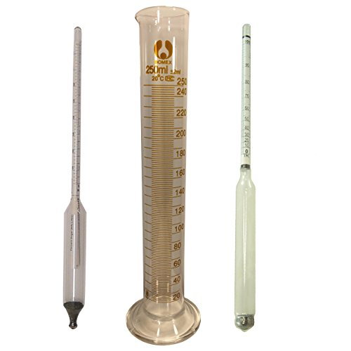 HomeBrewStuff Graduated Cylinder Glass Test Jar, 3.3 Borosilicate Glass, 250ml Triple scale hydrometer, and Proof and tralle Hydrometer Combo