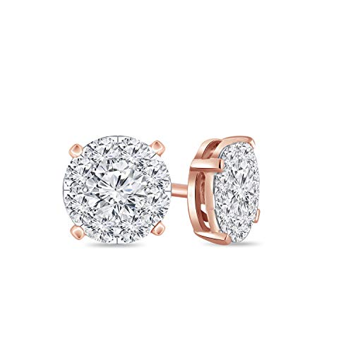 (Diamond Wish 14k Rose Gold Round Shape Pave Cluster Diamond Stud Earrings (3/8 cttw, O.White, I2-I3))