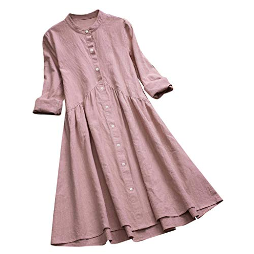 2019 New Women Vintage Solid Stand Collar Pleated Button Long Sleeve Casual Mini Dress Pink ()