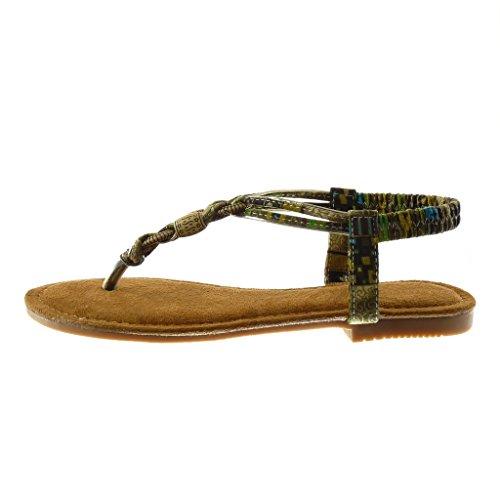 Angkorly Damen Schuhe Sandalen Flip-Flops - Slip-On - T-Spange - Folk - Fantasy - Schmuck Blockabsatz 1.5 cm Grüne