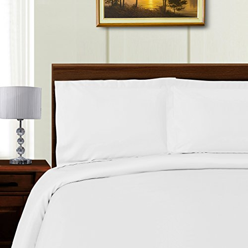 Blue Nile Mills Silky Tencel Blend King/Cal King Duvet Cover Set with Button Closure, White