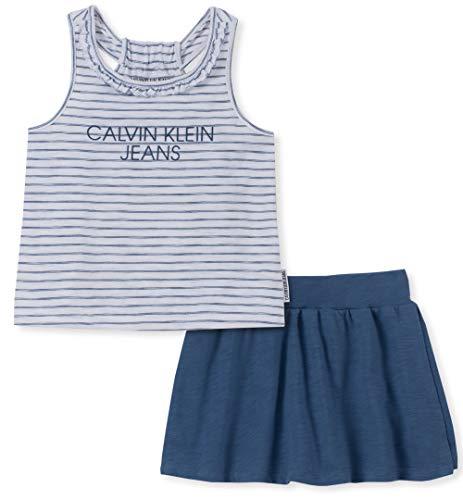 Calvin Klein Girls' Toddler 2 Pieces Shorts Set, Blue Stripes/Denim, 4T]()