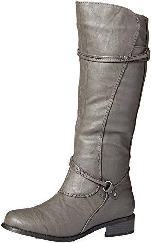 Brinley Co Womens Harley Riding Boot Regular & Wide Calf Grey
