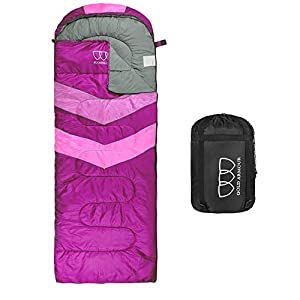 Sleeping Bag – Sleeping Bag for Indoor & Outdoor Use - Great for Kids, Boys, Girls, Teens & Adults. Ultralight and Compact Bags for Sleepover, Backpacking & Camping (Fuchsia / Pink - Right Zipper)