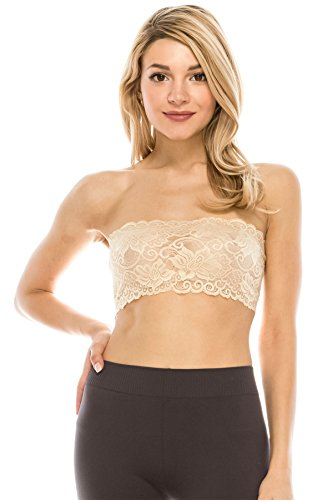 Kurve Seamless Lace Reversible Bandeau Tube Top (Made Love in The USA) Nude
