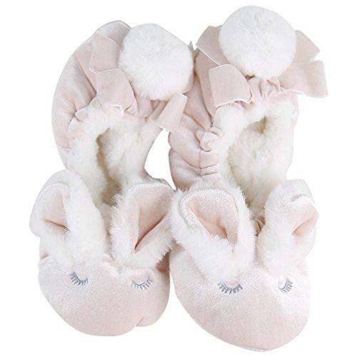 Rabbit Booties - Cozy Slippers Forfoot Women's Fleece Lining Non-slip Socks Indoor House Booties,Pink Rabbit,6-9