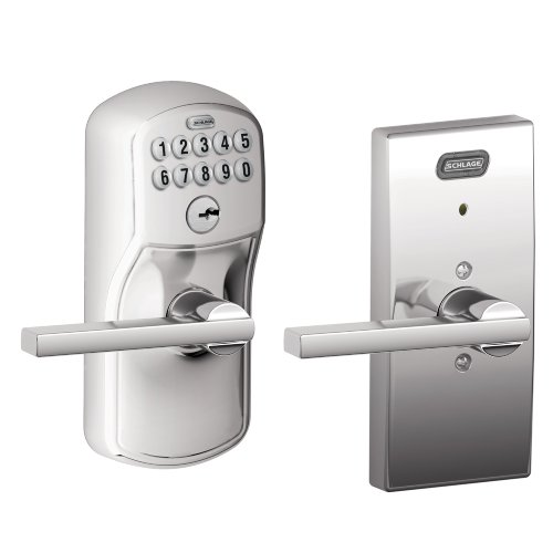 Schlage FE576 PLY 625 LAT CEN Built-in Alarm, Century Collection Keypad Latitude Lever Door Lock, Bright Chrome