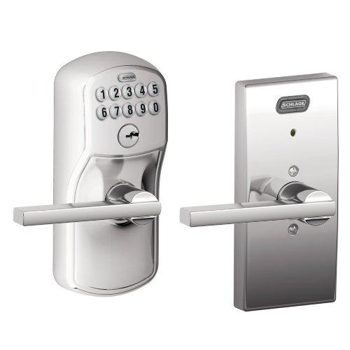 Schlage FE576 PLY 625 LAT CEN Built-in Alarm, Century Collection Keypad Latitude Lever Door Lock, Bright Chrome Schlage Lock Company