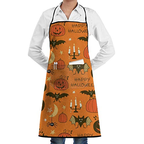 NiYoung Aprons Kitchen Chef Bib - Dinner is Coming Professional for BBQ/Baking/Cooking for Men Women Happy Halloween Party Patterns