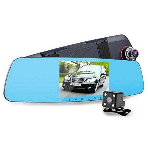 CLEVER BEAR HD Mirror Cam Full HD 1080P 5 Inch Mirror with Rear View Camera Car Dash Cam Dual Lens Monitor Night Vision