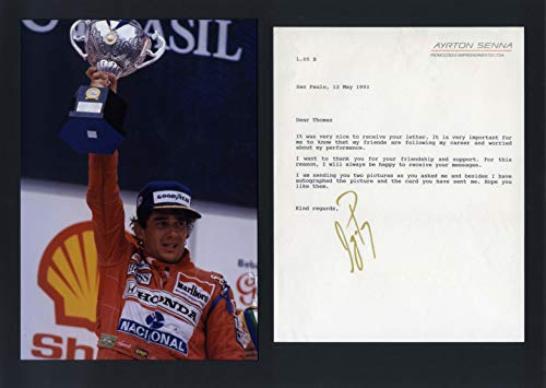Ayrton Senna FORMULA ONE autograph, typed letter signed & - Typed Signed