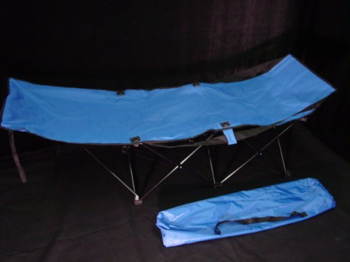 SPORTY CAMPING COT – BLUE + BAG OVERSIZE ADULT FOLDING, Outdoor Stuffs