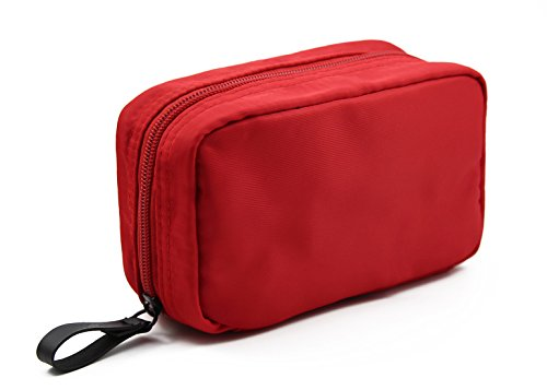 (Admirable Idea Women's Small Makeup Organizer Bag for Traveling Square Nylon Cosmetic Pouch Kits,red)