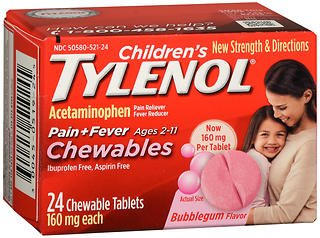 Chewable Tablets Bubble Gum (Tylenol Children's Pain + Fever Chewables Tablets Bubblegum Flavor - 24 ct, Pack of 3)