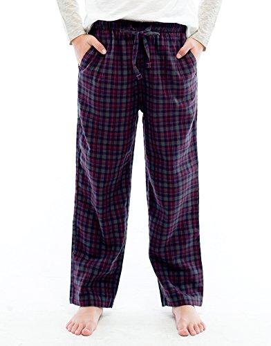 Pants Boys Pajama Fleece (TINFL Big Boys Soft 100% Cotton Flannel Winter Lounge Pants FBP-30-Darknavy-YL)