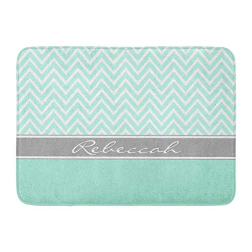 Custom Doormats Mint Green White Chevron Zigzag Gray Name Home Door Mats 15.7