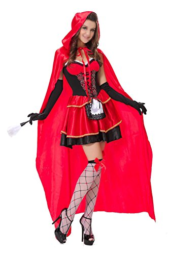 Uleade Little Red Riding Hood Dresses Funny Halloween Costume Dress With Red Hat Cloak ()
