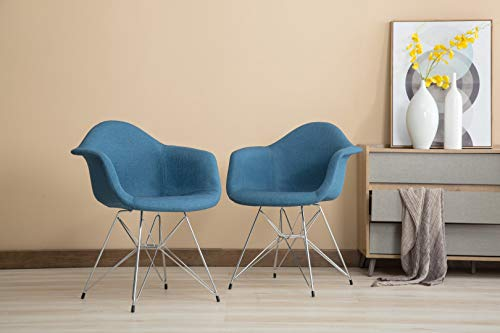 Porthos Home LVC015A BLU Upholstered Set of 2 Chair with Arms Chrome Metal Legs and a Beautiful Blue Fabric Eames Style Armchair for Living Dining Room Furniture Size 34 x 25 x 24 inches, One