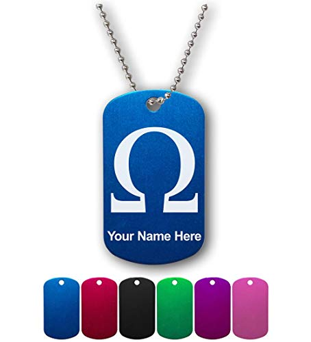 Omega Necklace Personalized (Military Style ID Tag, Omega Symbol, Personalized Engraving Included)