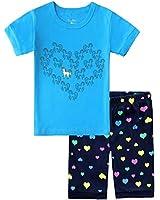 Girls Snug Fit Cotton Pajamas Sleepwear (Blue Unicorns, 7)