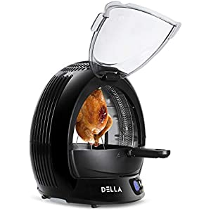 Della 9 In 1 Electric Air Fryer Multicooker Halogen Powered LED Display Vertical Rotisserie Oven Stir Fry & Grill, ETL Certified