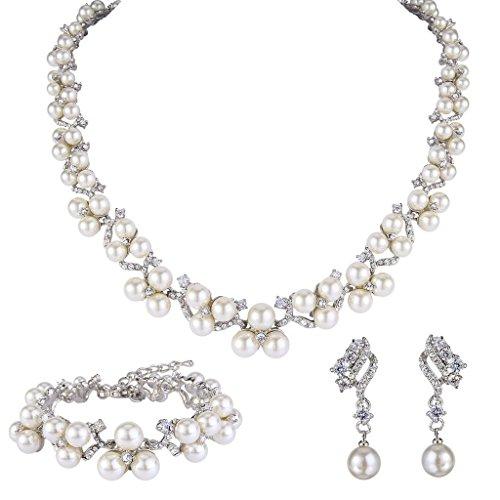 EVER FAITH Austrian Crystal CZ Simulated Pearl Victorian Style Necklace Earrings Bracelet Set Clear (Earrings And Bracelet Set)