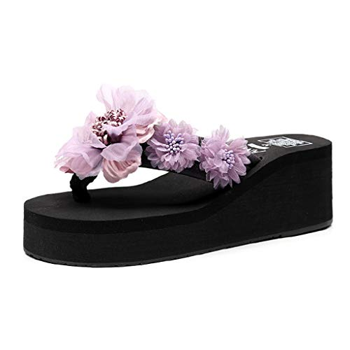 Summer Clothes Beach Shoes Simayixx Women US 5-7.5 Flat Sandals Bohemia Flower Flip Flops Teen Girls Slippers Plus Size Purple