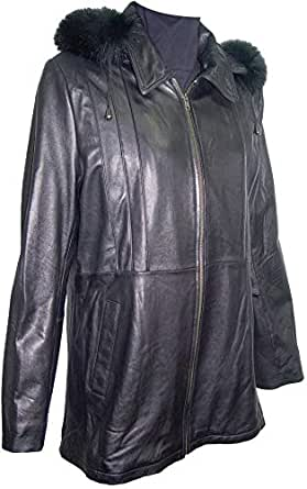 Johnny 4001 Classic Fur Trim Leather Hooded Jacket 4