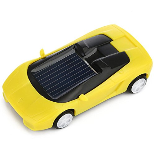 Gbell Solar Powered Mini Racer Car Toy - Solar Energy Vehicle Educational Gadget Gift For Toddlers Kids Baby Boys Girls,7x3x2CM,Assorted Red Black White Yellow (Yellow)